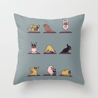 Frenchie Yoga Throw Pillow