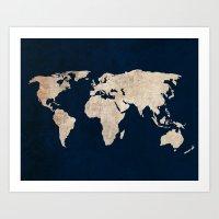 Inverted Rustic World Map Art Print