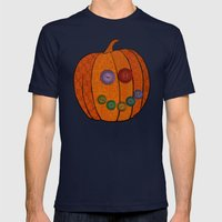 Patterned Pumpkin  Mens Fitted Tee Navy SMALL