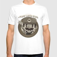 Mario Bros Fan Art Mens Fitted Tee White SMALL
