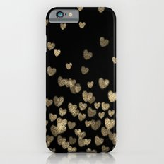 Glitter Hearts - Black background for trendy girls iPhone 6 Slim Case