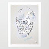 One line T800 Art Print