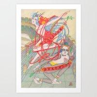 The Legendary Panda Brother & Dragon Sister  / Original A4 Illustration / Colored Pencil & Ink Art Print