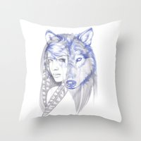 She Wolf Throw Pillow