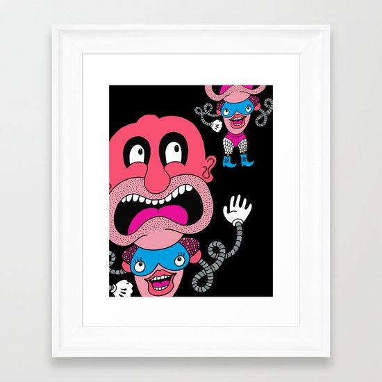Red Face Weirdo Framed Art Print