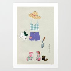 Gardening Outfit Art Print