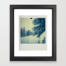 Mt Hood Snow - Polaroid Framed Art Print