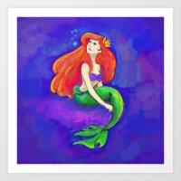Mermaid Drawing Art Print