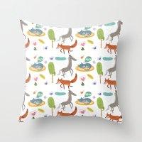 Happy animals Throw Pillow