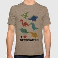 I love dinosaurs Mens Fitted Tee Tri-Coffee SMALL
