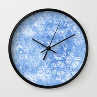 Abstract Snow Flakes On … Wall Clock