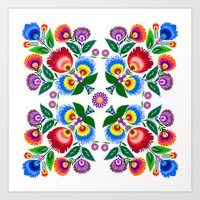 folk flowers square Art Print