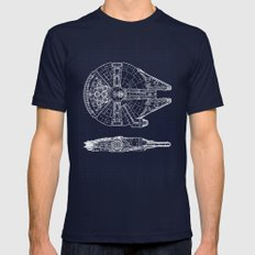 Millennium Falcon Mens Fitted Tee Navy SMALL