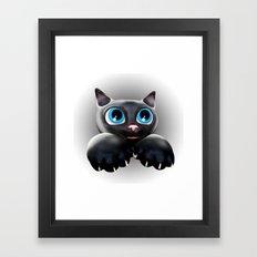 Cute Kitty Cartoon with Blue Eyes - 3D Framed Art Print