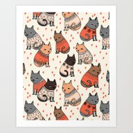 Sweater Cats - By Andrea… Art Print