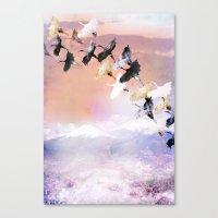 Japanese cranes Canvas Print