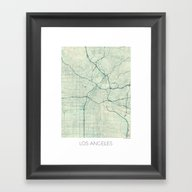 Los Angeles Map Blue Vin… Framed Art Print