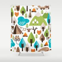 Wild camping trip with fox and wild animals illustration Shower Curtain