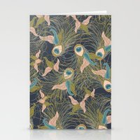 Peacock Feathers and Art Deco Print Stationery Cards
