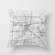 Houston Map Gray Throw Pillow