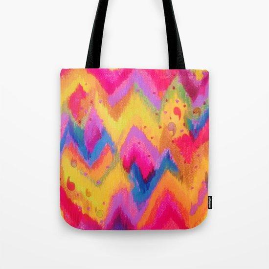 BOLD QUOTATION - Bright Vibrant Neon Quote Chevron Pattern Ikat Rainbow Trendy Design Fun Art Tote Bag