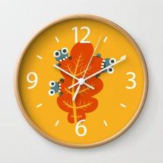 Cute Bugs Eat Autumn Leaf Wall Clock
