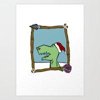 Dino Santa Art Print