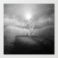 Black And White - Blue S… Canvas Print