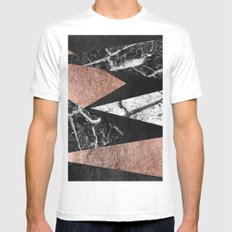 Elegant Modern Marble, Rose Gold, & Black Foil Triangles Mens Fitted Tee White SMALL