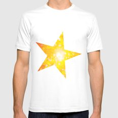 Shimmering Stars Orange Mens Fitted Tee SMALL White