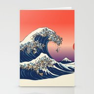 Stationery Cards featuring The Great Wave Of Englis… by Huebucket