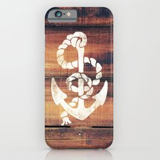 Vintage Nautical Anchor White on Brown Wood Grain Slim Case iPhone 6s