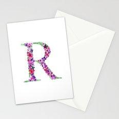 Floral Monogram Letter R Stationery Cards