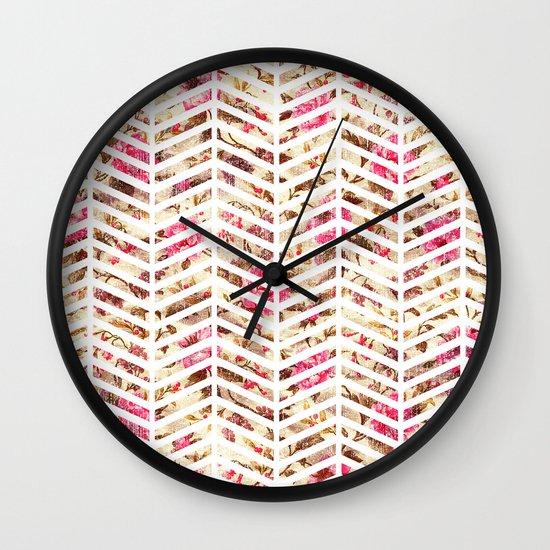 Pink Vintage Floral Girly Chevron Zig Zag Pattern Wall Clock