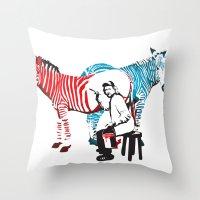 Zebra Painter print Throw Pillow