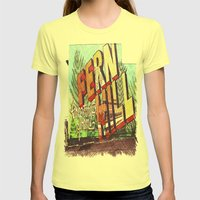 Greetings From Fern Hill Womens Fitted Tee Lemon SMALL