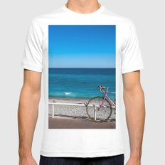 Beach and the bike - Nice, France summer SMALL White Mens Fitted Tee