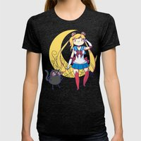 Adventure Moon Womens Fitted Tee Tri-Black SMALL
