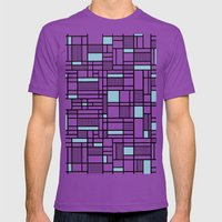Map Lines Sky Blue Mens Fitted Tee Ultraviolet SMALL