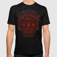 Day Of The Dead Skull No… Mens Fitted Tee Tri-Black SMALL