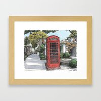 Red phone box in Davis Framed Art Print