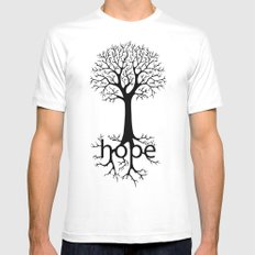 Hope Takes Roots White SMALL Mens Fitted Tee