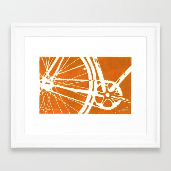 Orange Bike Framed Art Print