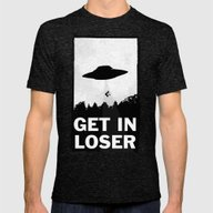 Get In Loser Mens Fitted Tee Tri-Black LARGE