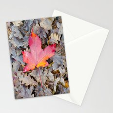 Red fallen leaf Stationery Cards