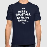 Merry Christmas, Ya Filt… Mens Fitted Tee Navy MEDIUM