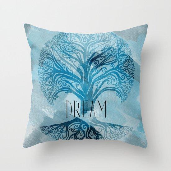Aqua Dream Tree Throw Pillow
