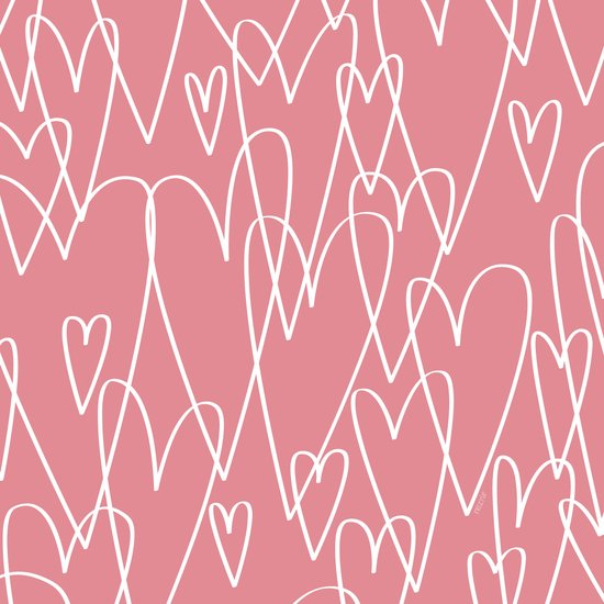 Doodle Hearts in Pink by Friztin Art Print