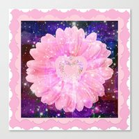 Pink Flower With Sparkle… Canvas Print