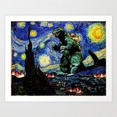 Godzilla versus Starry Night Art Print